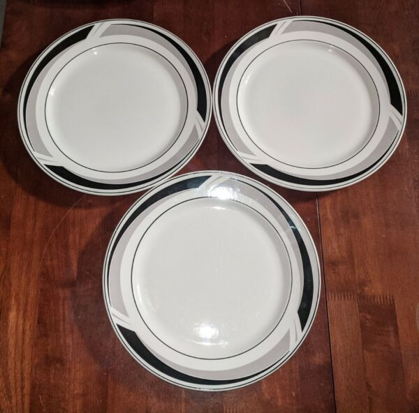 3 Tablemates Daily Dining Black Triad 10.5quot; Dinner Plates Vintage