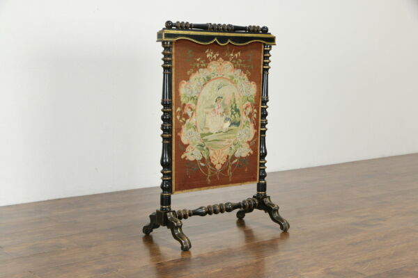 Victorian Antique 1850 English Fireplace Hearth Fire Screen Needlepoint #35685