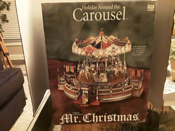 2001 Mr. Christmas Holiday Around The Carousel Christmas Musical Carousel In Box