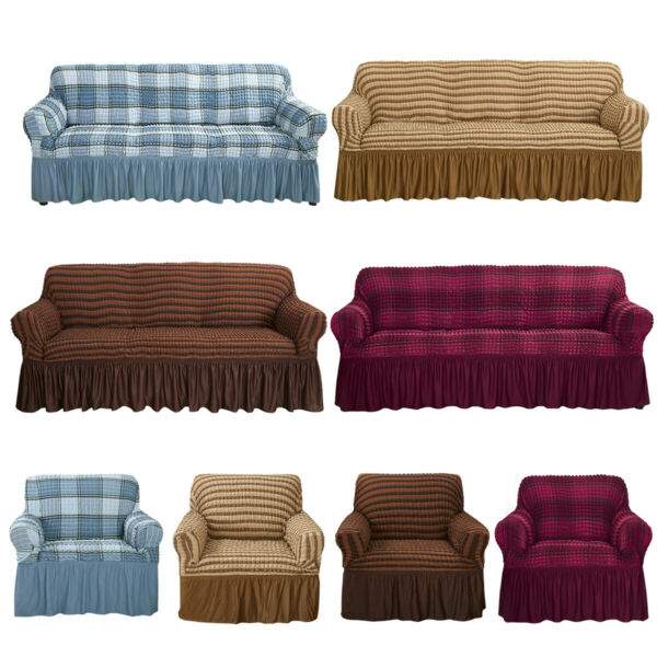 1 2 3 4 Seater Stretch Sofa Slipcover Couch 3D Bubble Lattice w Skirt Sofa Cover $26.99