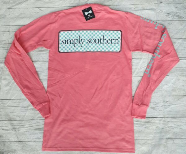 NWT Simply Southern Women#x27;s Sz. XS Long Sleeve Coral T Shirt w Front Pocket $13.98