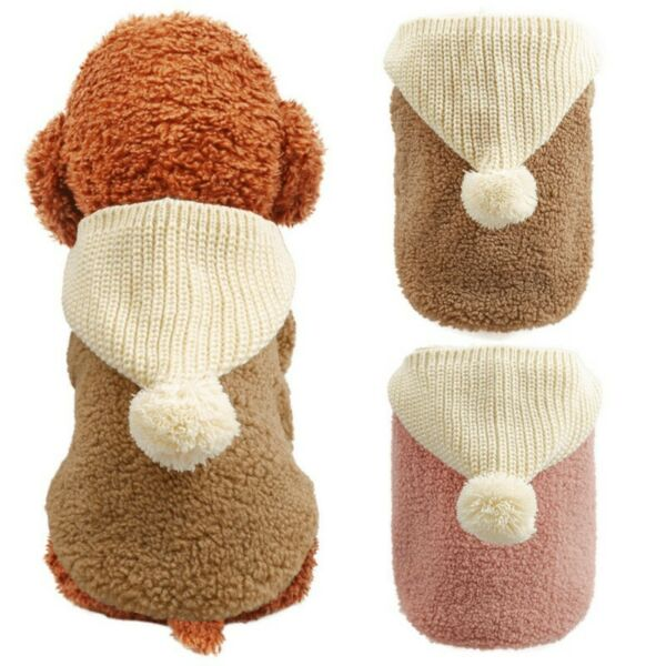 Pet Fleece Dog Jumpsuit Winter Dog Clothes Small Puppy Coat Pet Outfits Hoodie $12.99