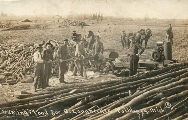 MICH RPPC Sawing Wood for A Longnecker Rothbury Michigan Real Photo Postcard $30.00