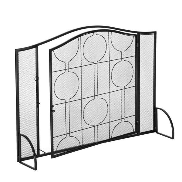 Single Panel Wrought Iron Fireplace Screen Mesh Spark Guard with Locking Door