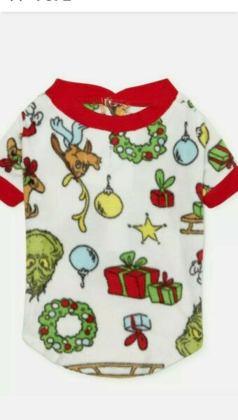 DR. SEUSS THE GRINCH PJ#x27;S PETS DOG CHRISTMAS SWEATER SHIRT COAT HOLIDAY LARGE $12.88