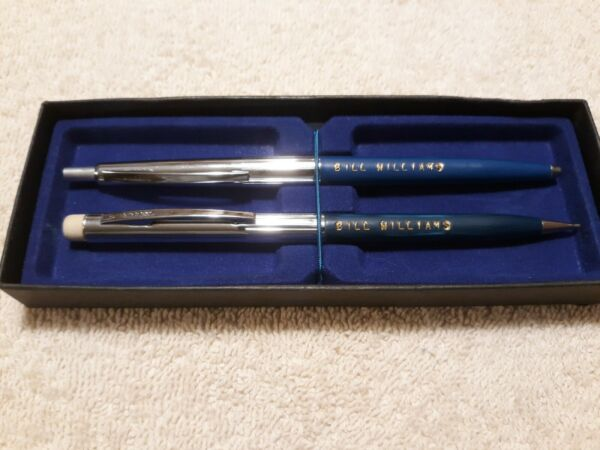Vintage SHEAFFER pen set 1 ink 1 lead say Bill Williams blue amp; green