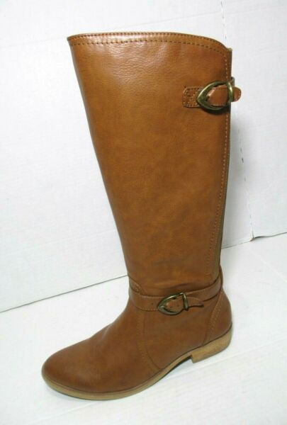Bare Traps Tommy Women Tall Riding Boots Brown Fx Leather Side Zip Size 8M VGC $28.00