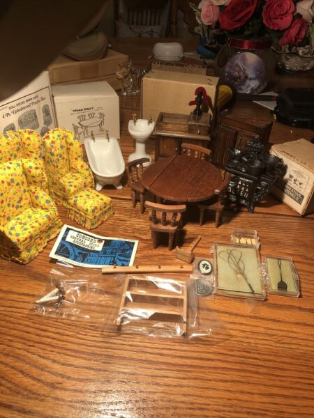 Hello Dolly Doll House Furniture 23 Pc Paror Set Table Chair Cast Stove Sink Tub