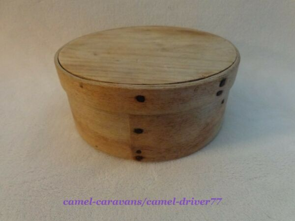19th c ANTIQUE Wooden Round PANTRY BOX w Lid Square Nails SHAKER 6 3 4quot; Original