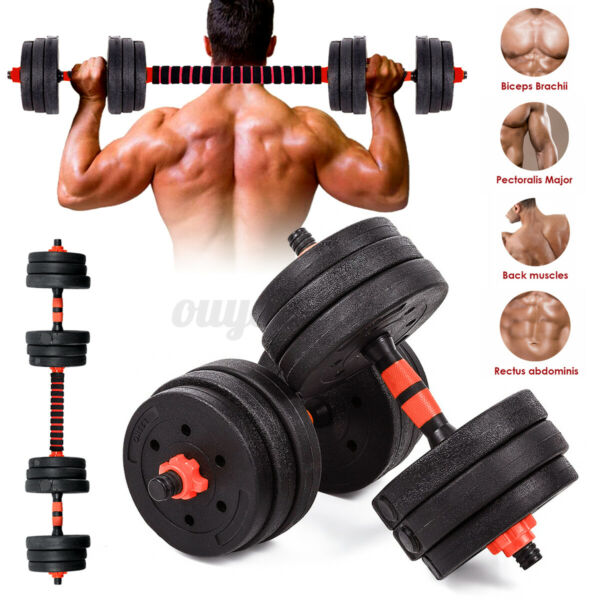 22 44 66 88lb Adjustable Dumbbell Set Weight Barbell Plates GYM Home Workout