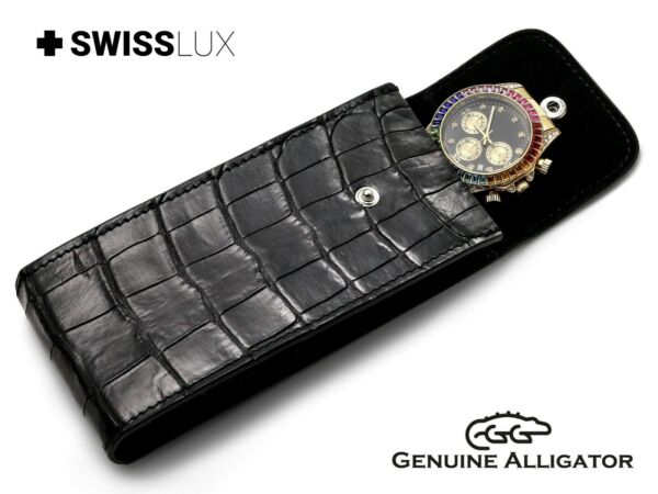 Alligator Crocodile Leather BLACK Watch Case Carry Bag Travel Box For MONTBLANC