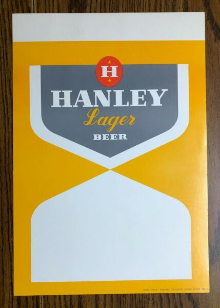 VTG Two quot;Hanley Lager Beerquot; cardboard advertising signs Cranston R.I.