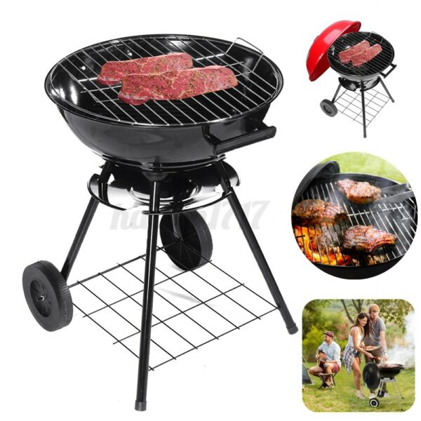Charcoal Grill 17#x27;#x27; Barrel BBQ Smoker Barbecue Patio Backyard Outdoor Grill US