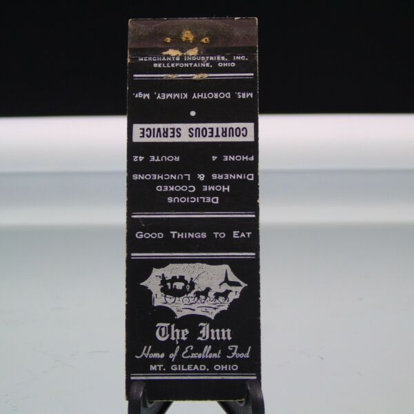 The Inn Mount Gilead OH Phone 4 Vintage Matchbook Cover $6.99