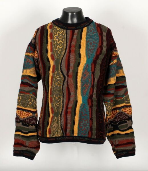 Colorful Abstract 100% Wool COOGI Sweater XL $295.00