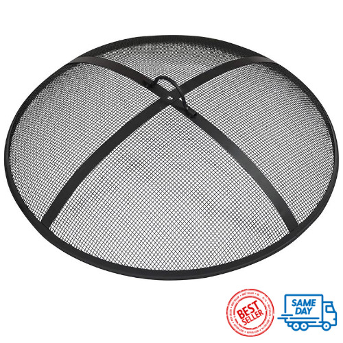31quot; Steel Fire Pit Spark Screen Mesh Round Black Outdoor Wood Burning Bowl Cover