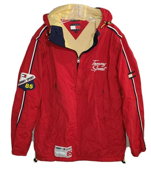 Vtg Tommy Hilfiger Tommy Sports Anorak Pull Over Removable Arms Med RARE $79.96