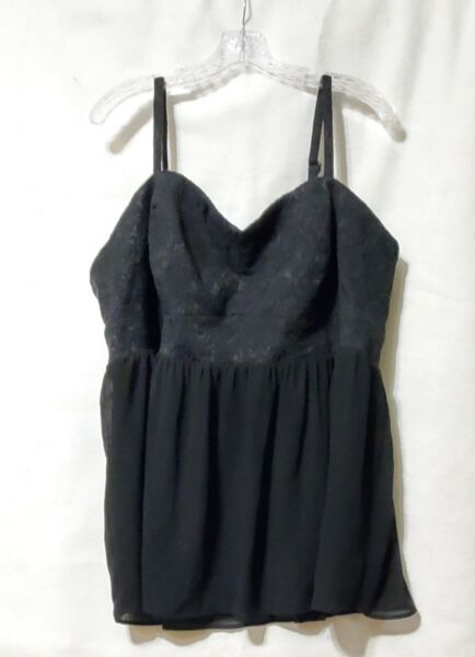 Torrid Plus Size 4X Black Lace And Chiffon Baby Doll Camisole
