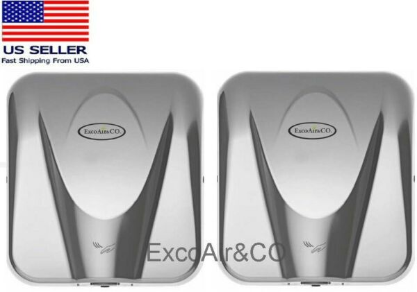 ExcoAir High Speed Commercial Hand Dryer Polished Stainless Cover pkg 2