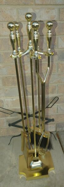 Antique 5 Piece polished Brass 31quot; Fireplace Tool Set Elegant Clean Beautiful