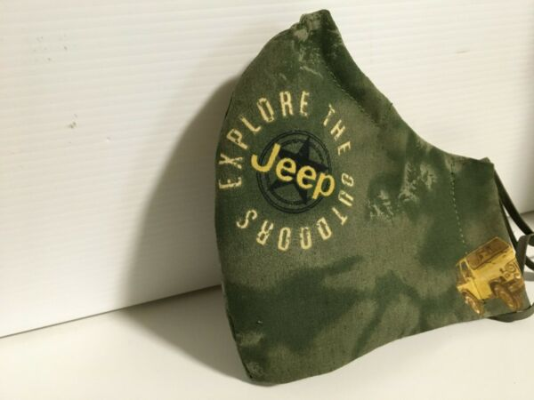 JEEP Mask Camo Mask Jeep Logo 5 Layer FILTER included NOSE WIRE Hunter Green