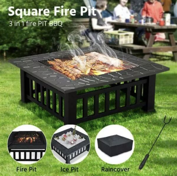 32quot; Square Outdoor Metal Fire Pit Garden Stove Brazier BBQ Table w Poker amp; Cover