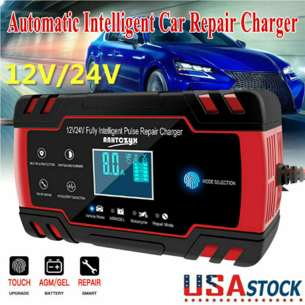 Intelligent Automatic Car Battery Charger 12 24V 8A Pulse Repair Starter AGM GEL $22.79