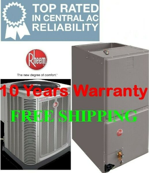 2 Ton 14SEER Rheem Heat Pump System Condensing Unit Air Handler with Coil $2160.00