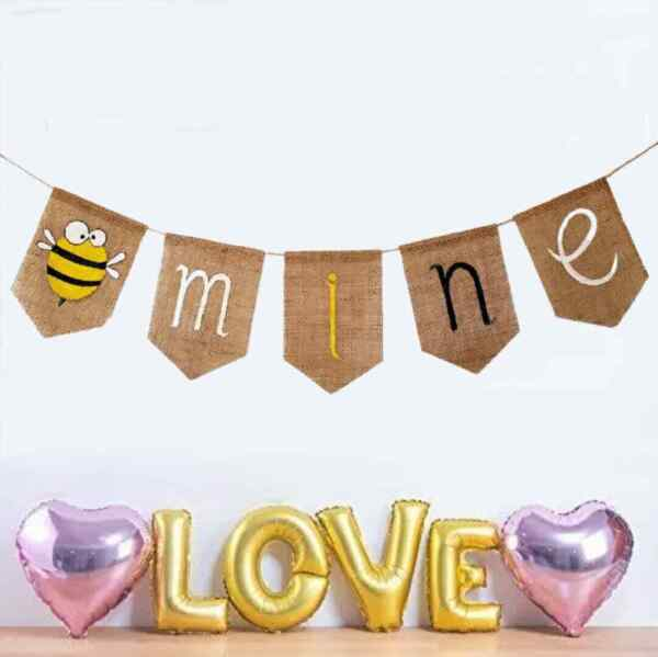 Valentine#x27;s Day Pun Banner Burlap Home Decoration Party Supplies Bee mine Funny