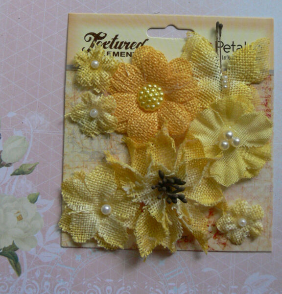 BURLAP Textured YELLOW Combination 7 flower amp; 1 Butterfly Mix 20 55mm Petaloo