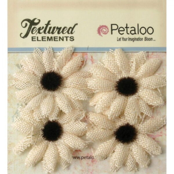 SUNFLOWER Burlap Textured IVORY x 4 flowers Black Centre 50mm across Petaloo L