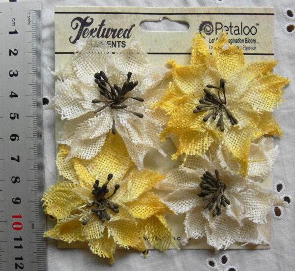 WILD SUNFLOWERS BURLAP Textured IVORY amp; YELLOW 4 flower Mixture 5 6cm Petaloo
