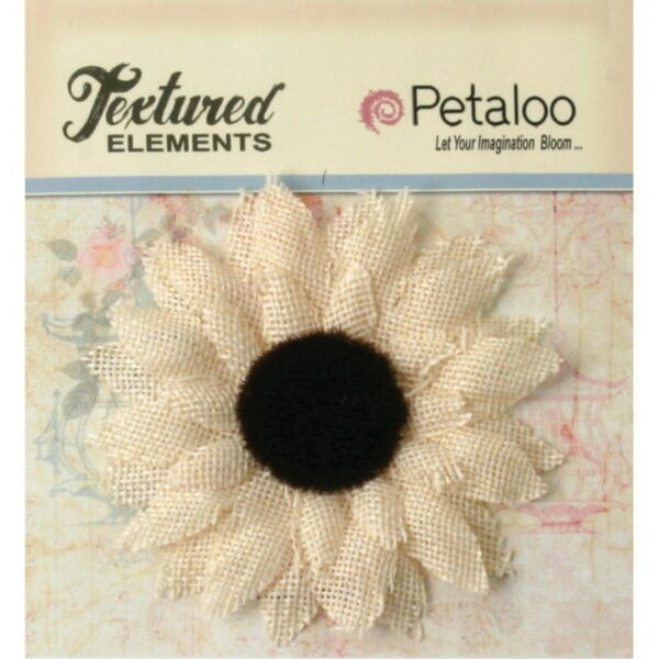 IVORY Burlap Textured SUNFLOWER SINGLE Black Centre 85mm across Petaloo L