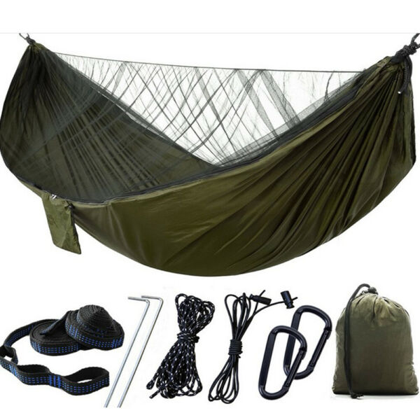 Double Camping Hammock with Mosquito Net Nylon Tent Hanging Bed Outdoor Portable $25.99