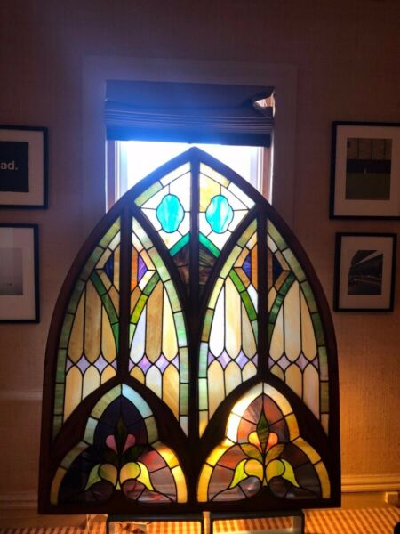 HUGE Antique Stained Glass Window In Wood Frame. Perfect condition
