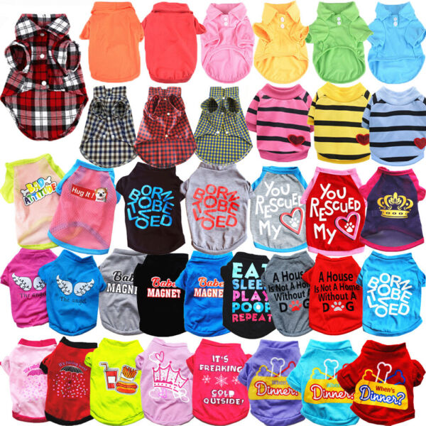 Cute Pet Cat Small Dog T Shirts Clothes for Puppy Chihuahua Summer Vest Clothing $3.29