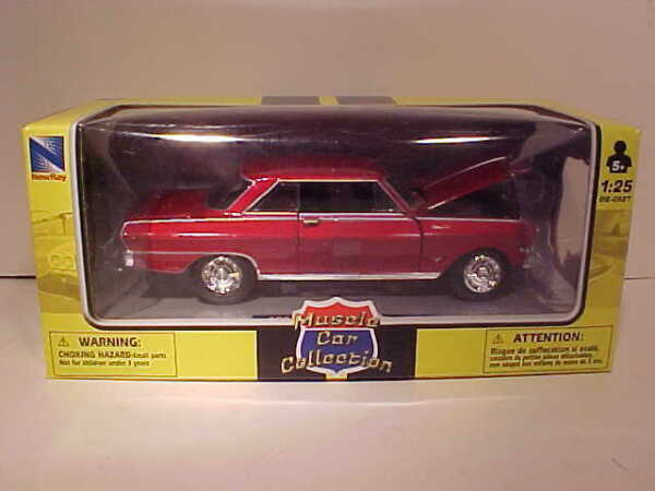 1964 Chevy Nova SS Coupe Die cast Car 1:25 by New Ray 7.5 inch Red 1 24