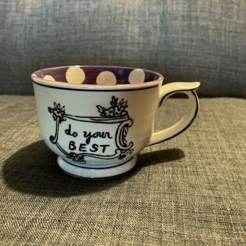 MOLLY HATCH Anthropologie Tea Coffee Cup quot;Do Your Bestquot; Polka Dots $22.00