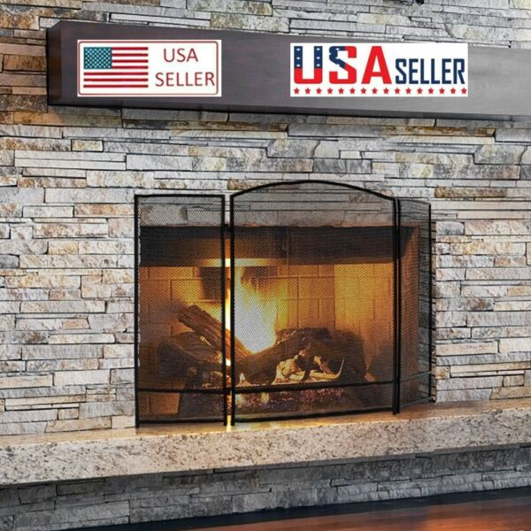Fold Black Barbed Wire Grill Living Room Decoration Iron Fireplace Screen US