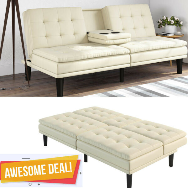 Memory Foam Leather Futon Sofa Bed Couch Sleeper Cup Holder Pillow Top White