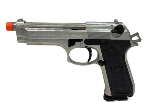 SRC CO2 gas blowback M9 FS Inox Military full metal airsoft Silver GBB 350 FPS