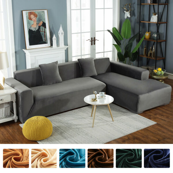 1 2 3 4 Seater Velvet Stretch Sofa Covers Chair Slipcover Furniture Protector $28.99