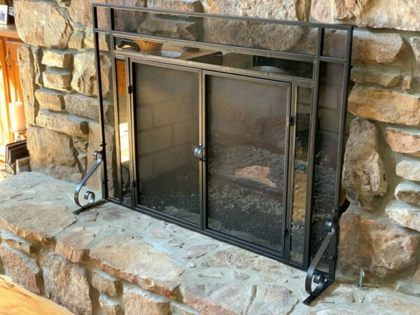 Decorative Fireplace Screen With Glass Accents Black Finish Large