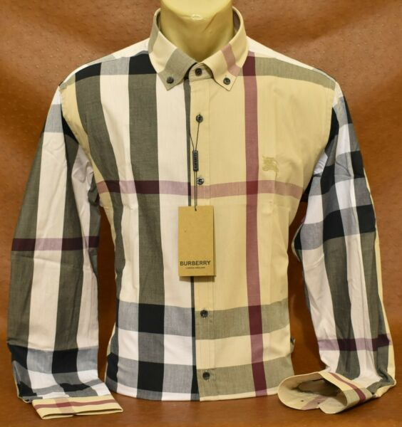 Brand New With Tags Men#x27;s BURBERRY Long Sleeve Shirt Size M to 2XL $63.90