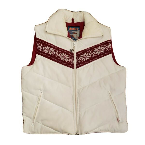Antler Large Down and Feather Vest White and Red Vintage $29.59