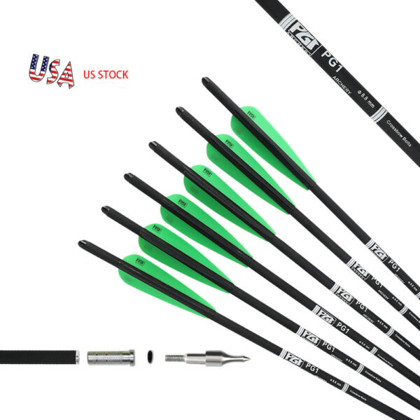 12 Pack 20 INCH Archery Crossbow Bolts Carbon Hunting Arrows 100gr Screw Tips $25.88