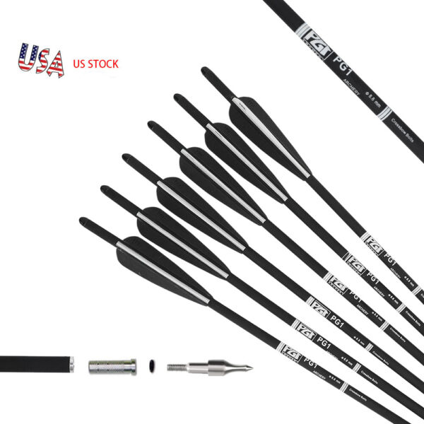 12 Pack 20 INCH Crossbow Bolts Carbon Hunting Arrows With 4#x27;#x27; Vanes OD 8.8mm $25.88