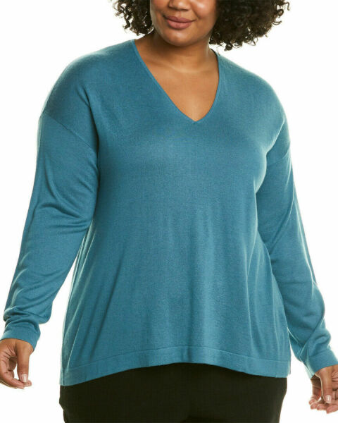Eileen Fisher Woman 3X Plus Sweater River Silk Cashmere V Neck Pullover Top $208 $89.99