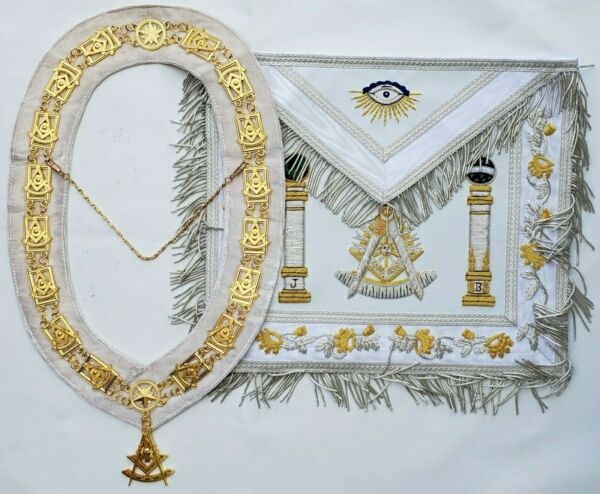 Masonic Collar Apron Hand Bullion EMBROIDERED PAST MASTER Package DMPACKAGE400 $99.99