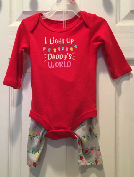 NEW Infant Baby Girls 0 3 Months Holiday Christmas Outfit Two Piece Pants